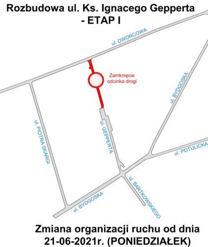 Ulica Gepperta w Nakle od poniedziałku częściowo zamknięta